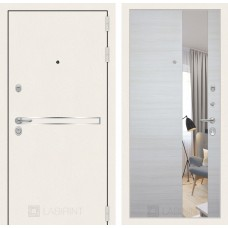 Стальная дверь Лабиринт LINE WHITE с зеркалом (внутренняя панель на выбор)