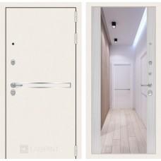 Стальная дверь Лабиринт LINE WHITE с зеркалом MAX (внутренняя панель на выбор)