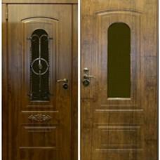 Заводские  двери  Шале (с ковкой) Патина бронза